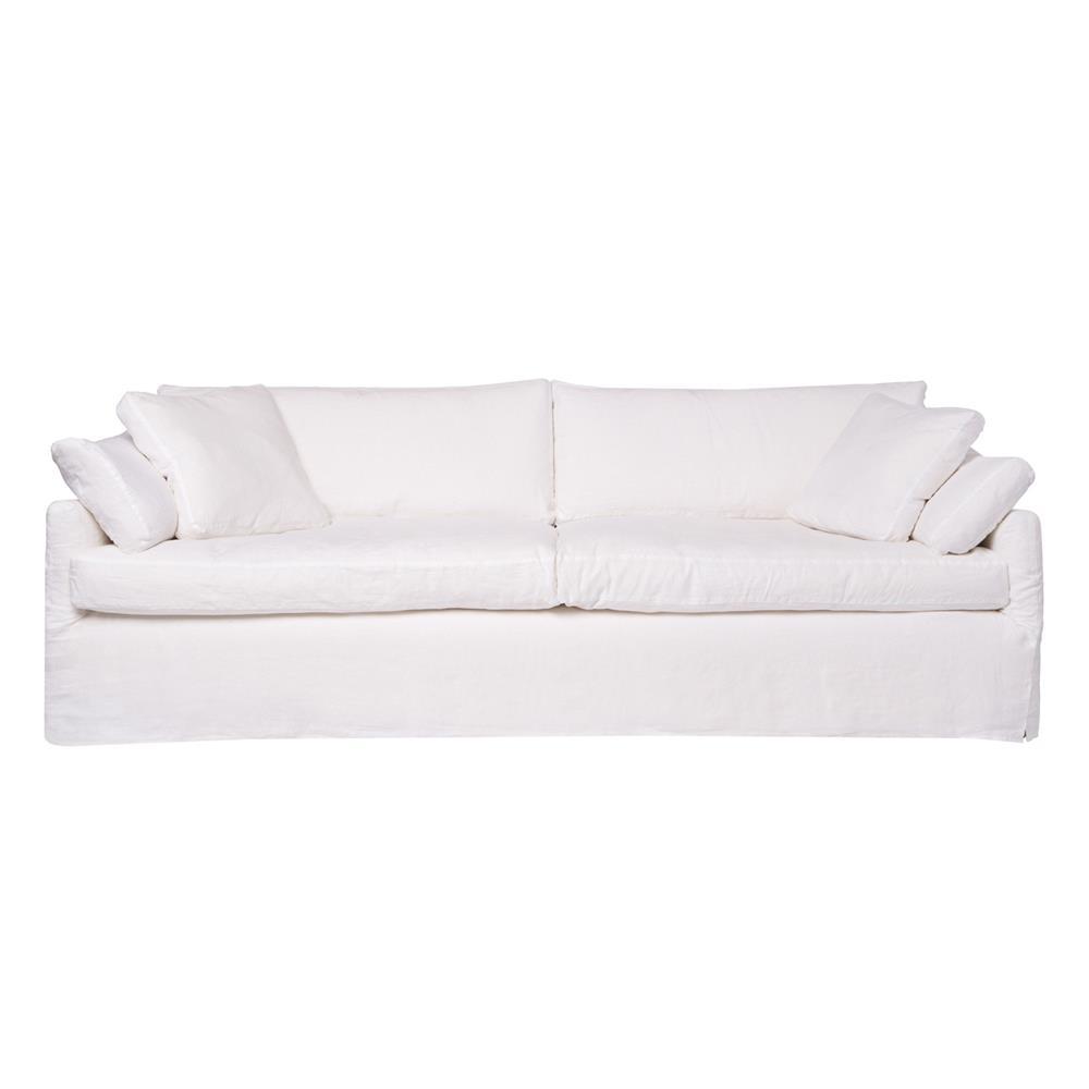 Cisco Brothers Lanister Modern Clic White Cotton Slip Cover Sofa
