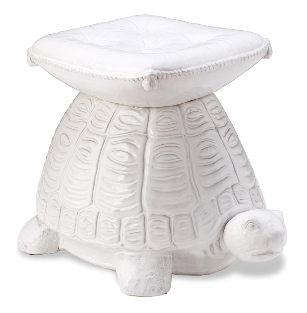 White Coastal Beach Style Turtle Garden Stool Kathy Kuo Home