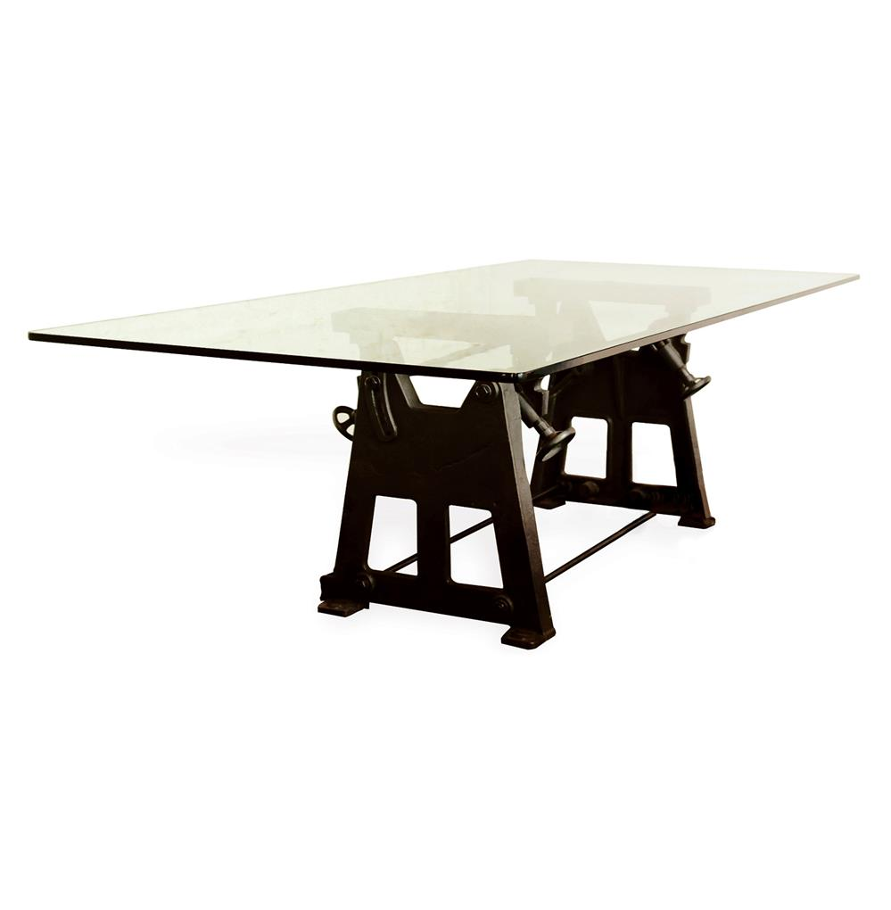 Small Industrial Dining Table: Bartley Industrial Reclaimed Cast Iron Glass Dining Table