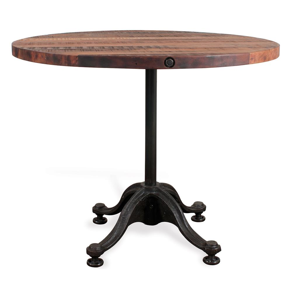 Pedro reclaimed wood industrial round bistro cafe dining table kathy kuo home - Industrial kitchen tables ...
