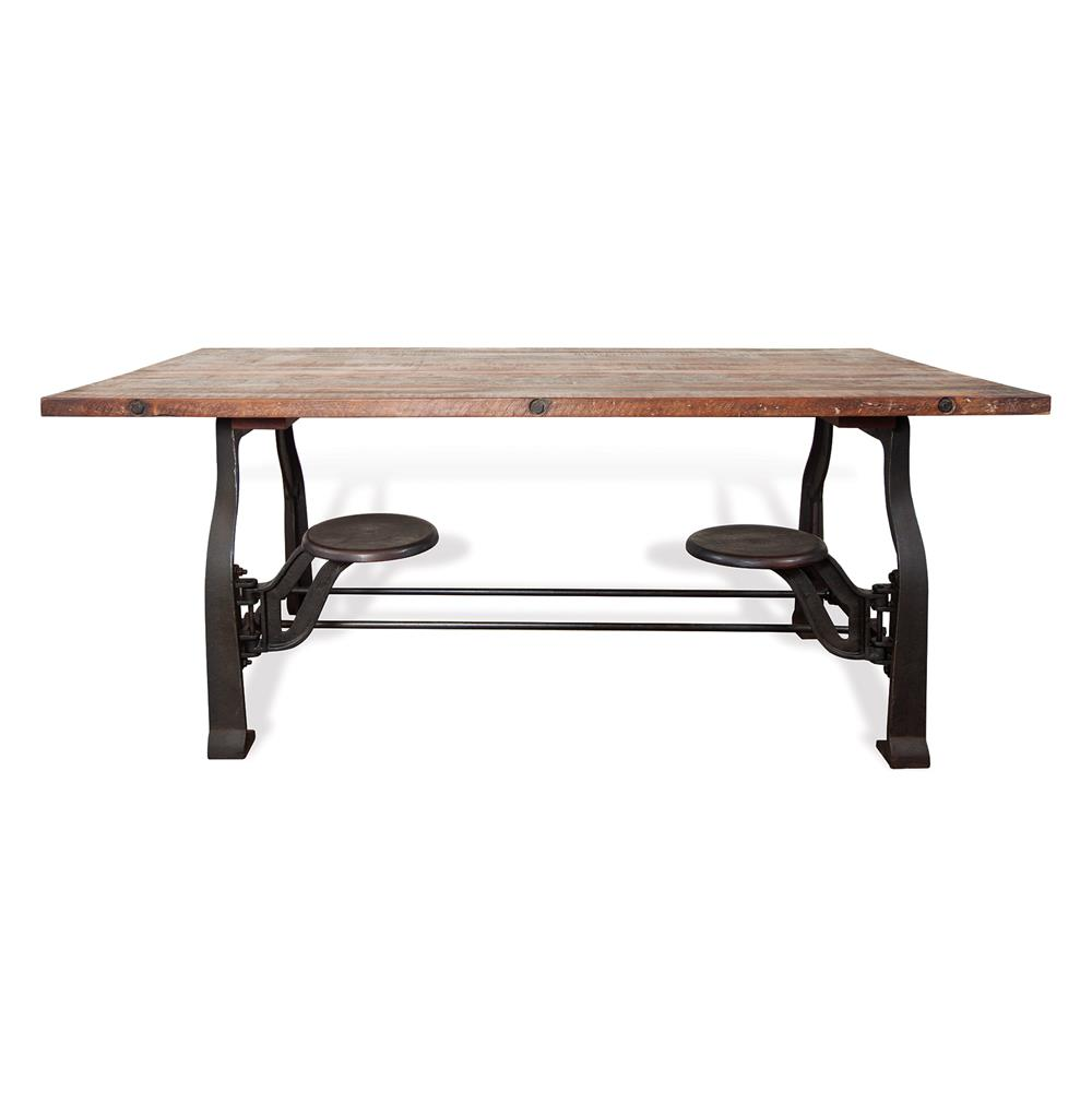 Vince reclaimed wood industrial cast iron dining table for Rotating dining table