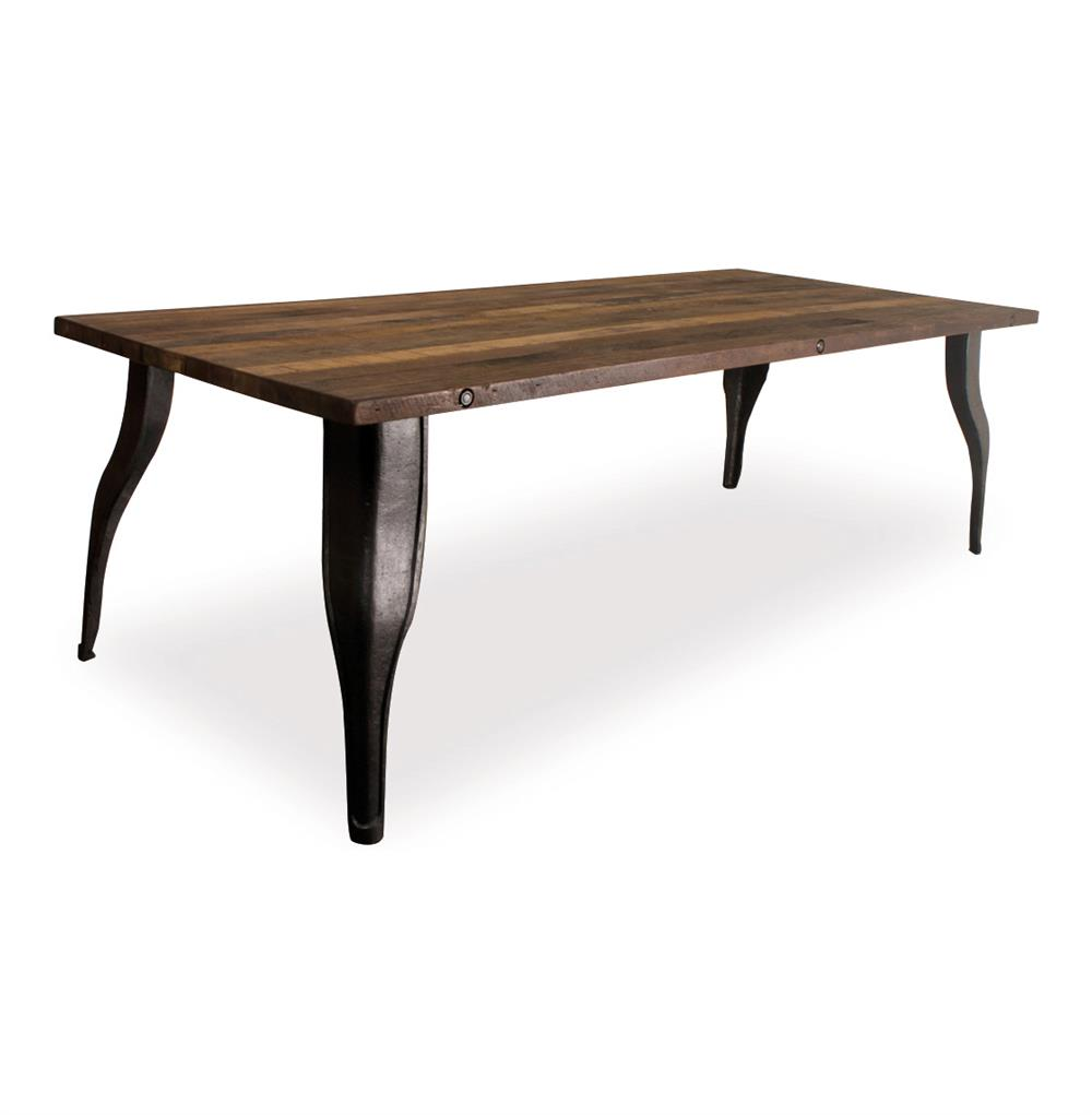 Alec industrial reclaimed wood cast iron dining table for Hardwood dining table