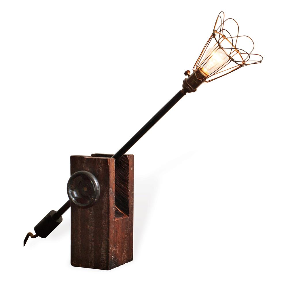 finley reclaimed wood industrial wire shade desk lamp kathy kuo home. Black Bedroom Furniture Sets. Home Design Ideas