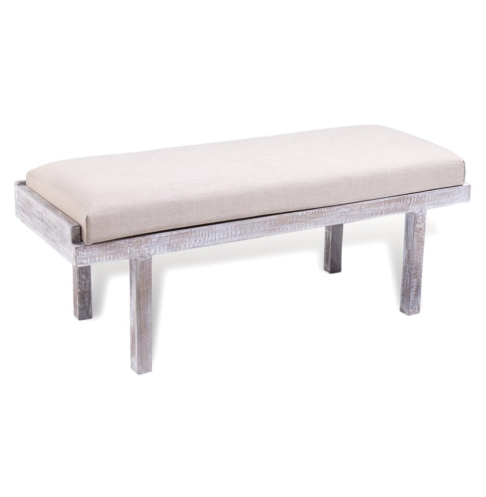 Andra White Wash Wood Linen Bench