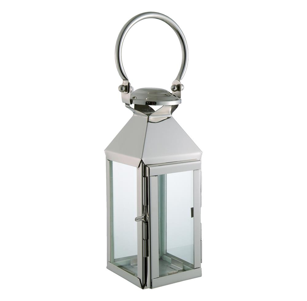 Colette modern polished silver square candle lantern kathy kuo home