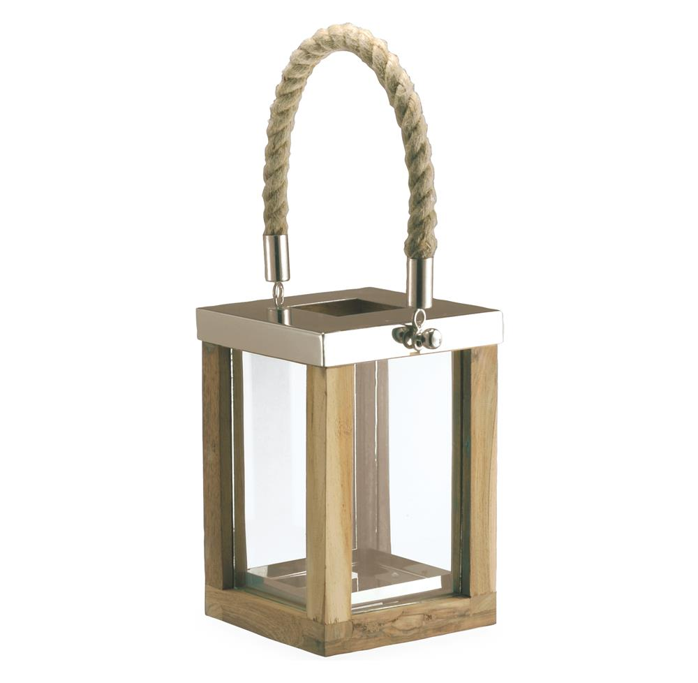 Beach Style Teak Stainless Steel Square Outdoor Candle Lantern Kathy Kuo Home