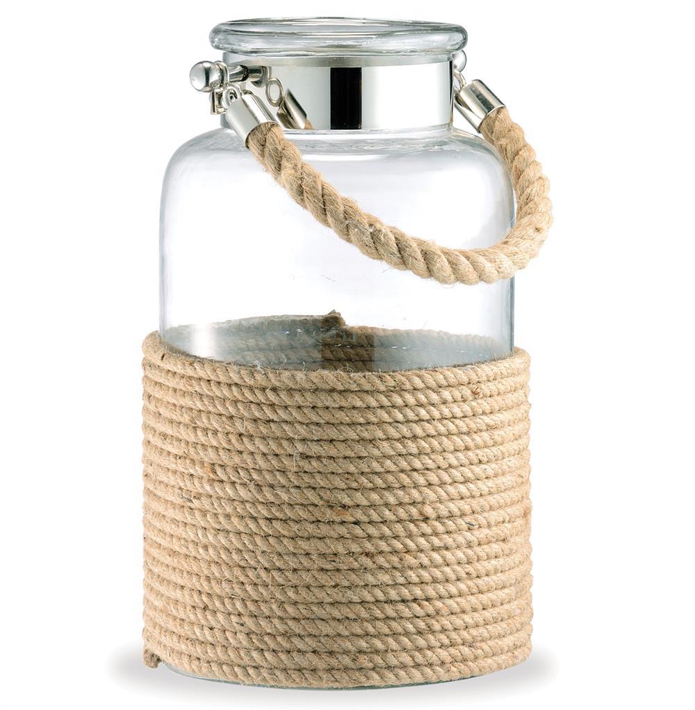 Spring lake coastal glass rope apothecary candle lantern - Como decorar jarrones ...
