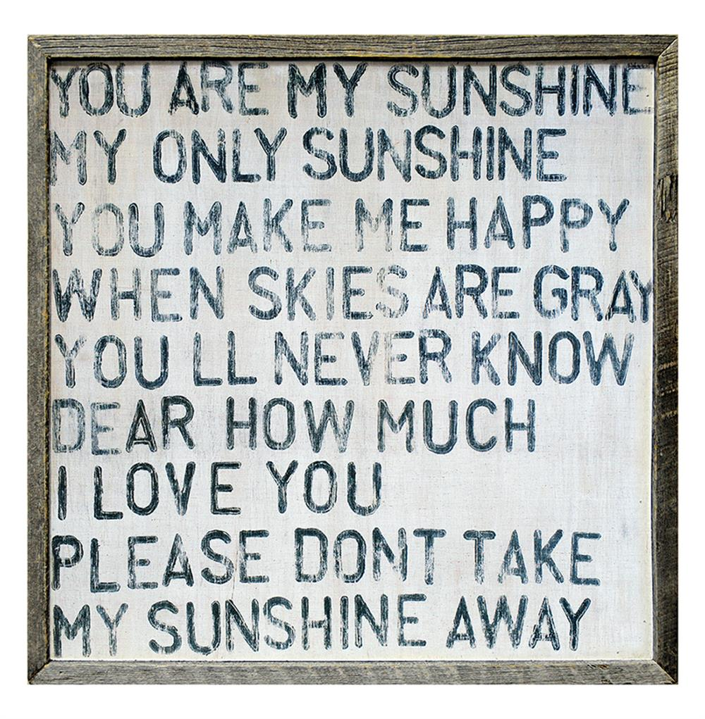 You Are My Sunshine Square Reclaimed Wood Frame Wall Art 25 Inch