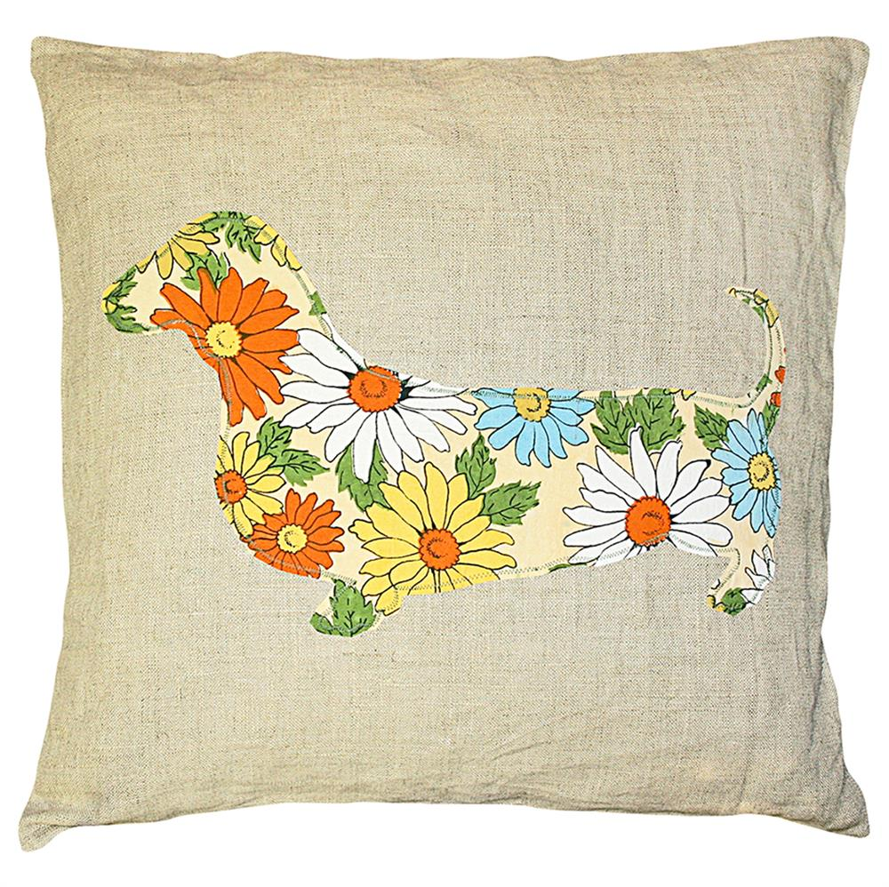 Throw Pillows Ross : Dachshund Floral Print Rustic Linen Down Throw Pillow - 24x24 Kathy Kuo Home