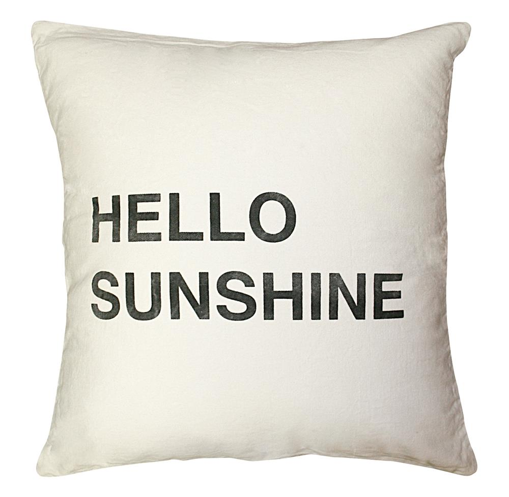 hello sunshine bold script linen down throw pillow 24x24. Black Bedroom Furniture Sets. Home Design Ideas