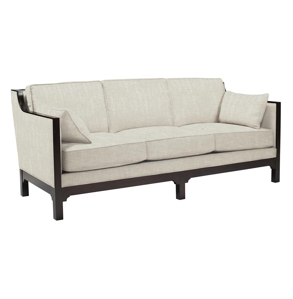 Dark Wood Ottoman ~ Lila contemporary straight arm exposed dark wood sofa