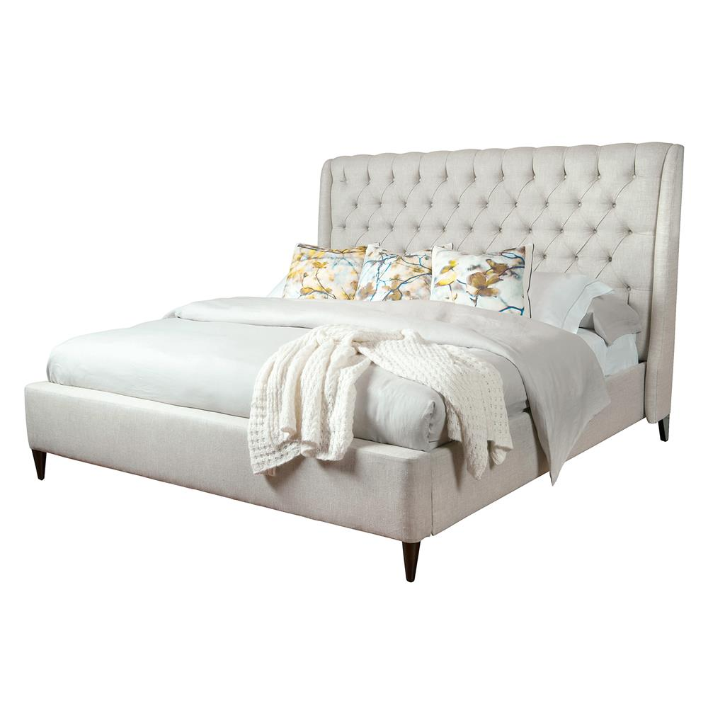 Kara Hollywood Regency Button Tufted Fawn Linen Bed - Queen