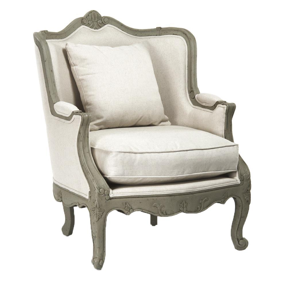 Adele french country rustic off white cotton arm accent chair kathy