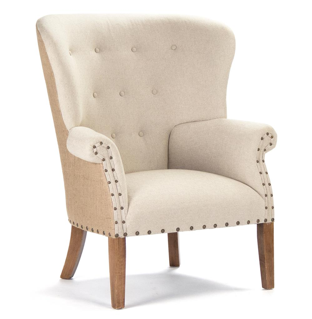 Morten Masculine French Linen Burlap Wing Back Arm Chair