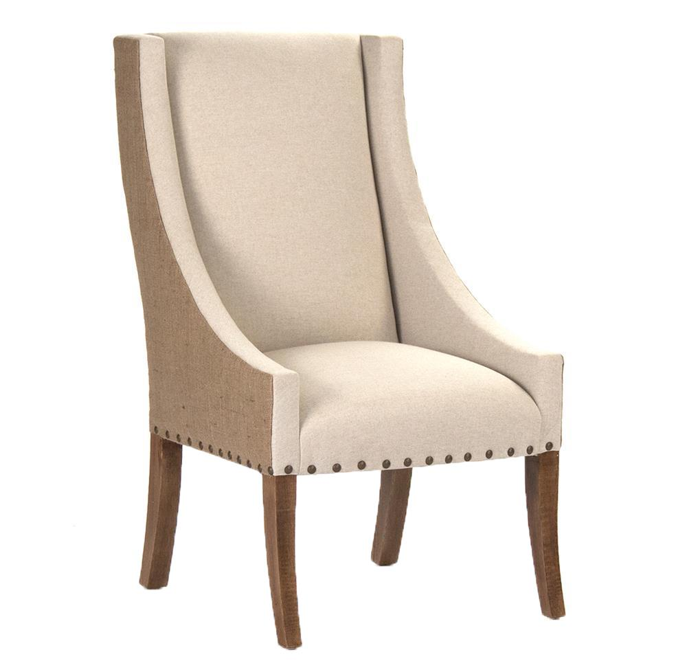 Marvelous Shipley French Country Burlap Two Tone Dining Arm Chair | Kathy Kuo Home