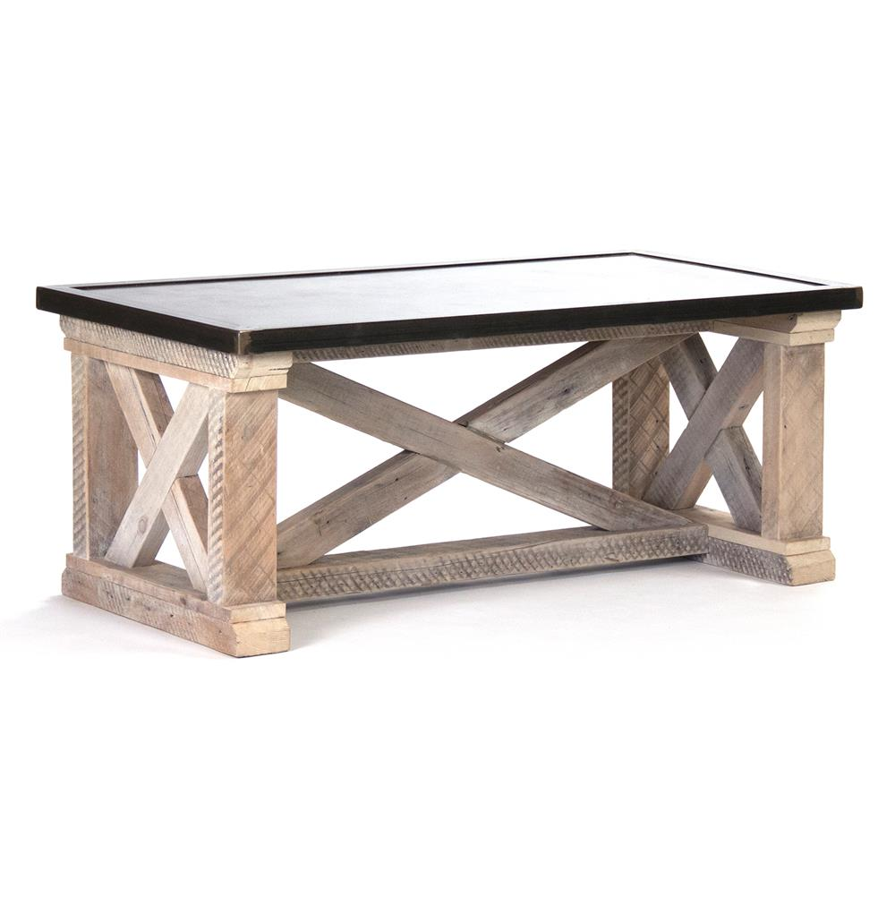 Valerya Zinc Top Chunky Rustic Solid Wood Coffee Table | Kathy Kuo Home