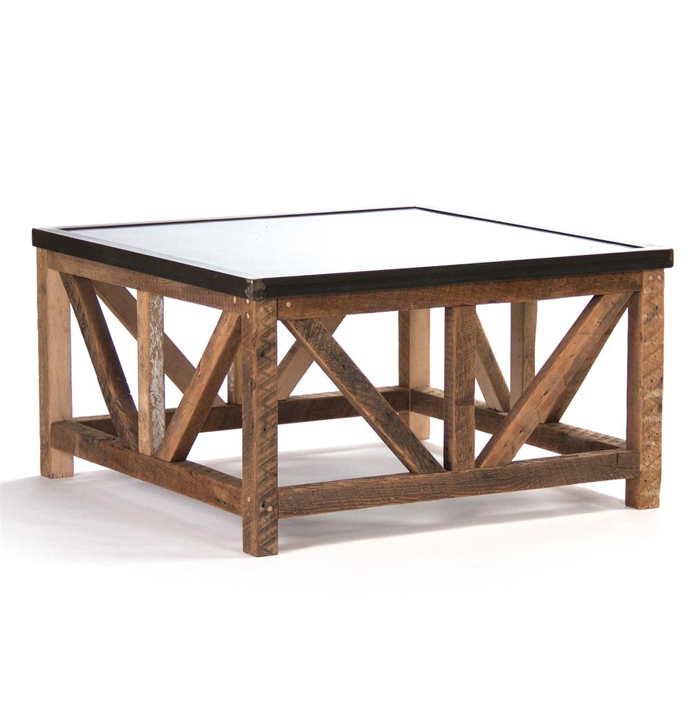 Regan Zinc Top Chunky Reclaimed Wood Rustic Coffee Table | Kathy Kuo Home