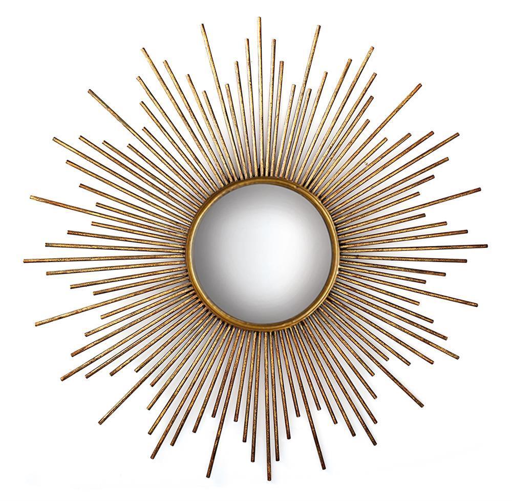 La villette antique gold hollywood regency sunburst mirror for Sunburst mirror