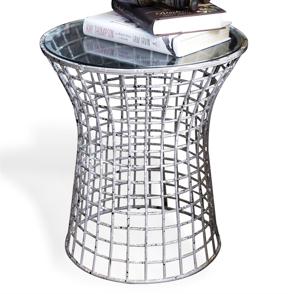 Antique Grey Paint Splatter Wire Frame Side Table Kathy