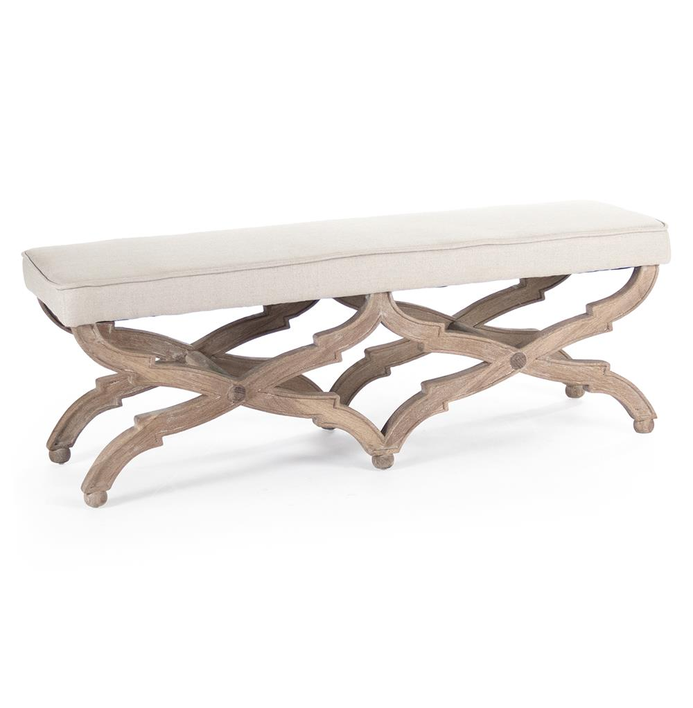 French Country Limed Grey Oak Long Dining End Of Bed Bench Kathy Kuo Home