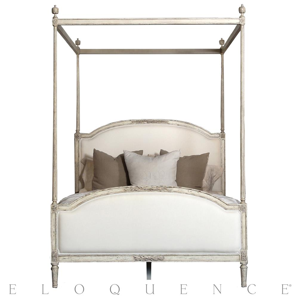 Eloquence dauphine canopy bed in weathered white queen for White canopy bed