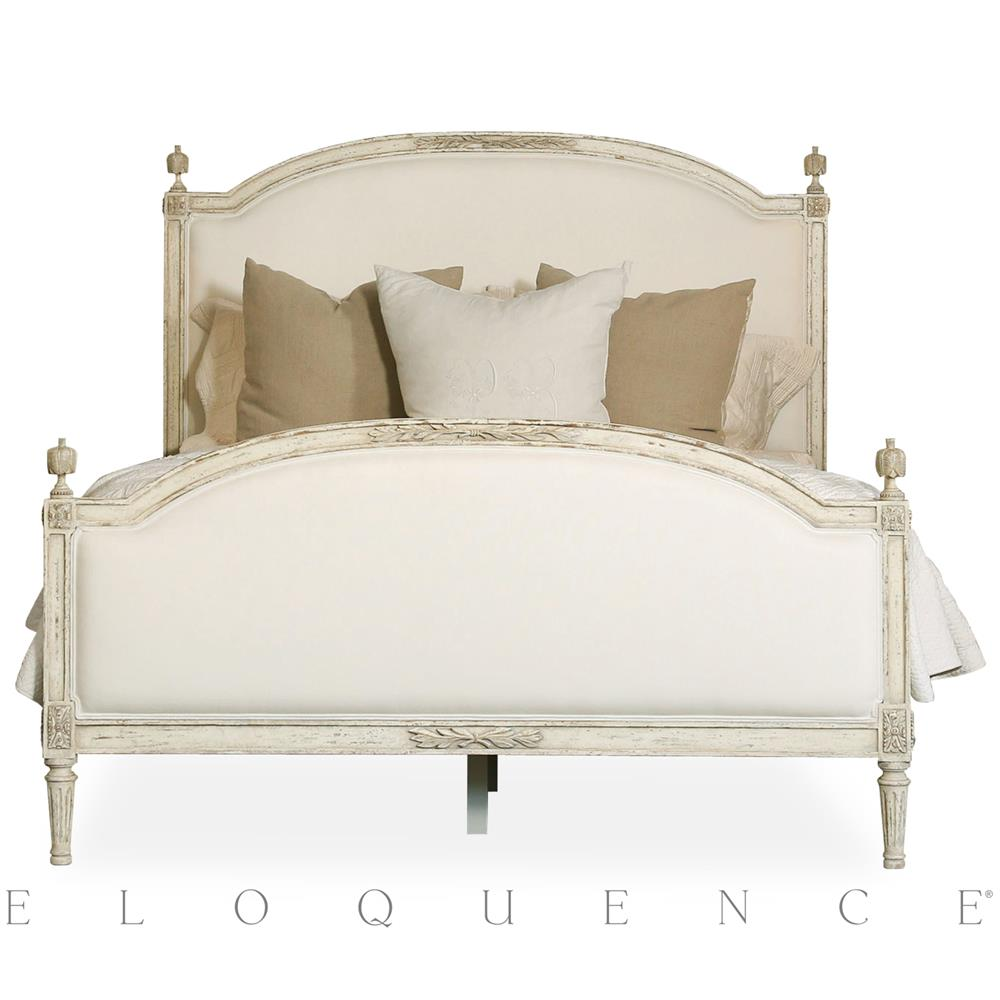 Eloquence dauphine queen bed in weathered white kathy for French country style beds