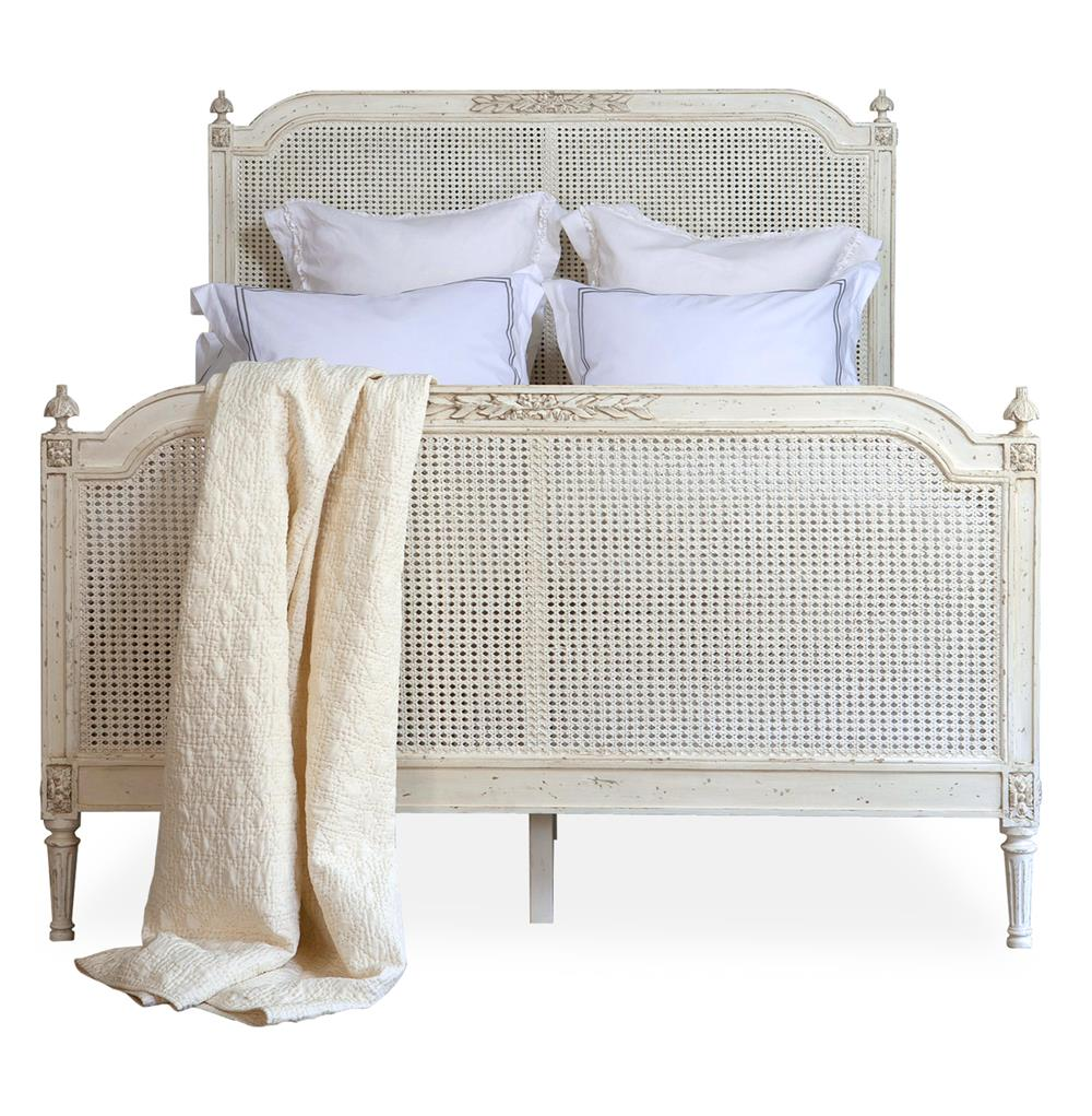 Blanka french country antique white elegant caned king bed for French country white