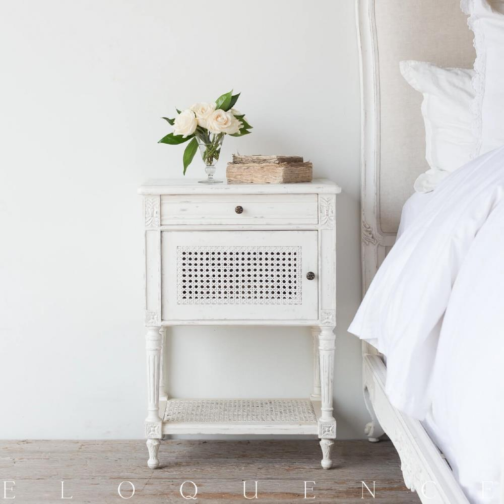 Eloquence giverny nightstand in antique white kathy kuo home - Pictures of nightstands ...