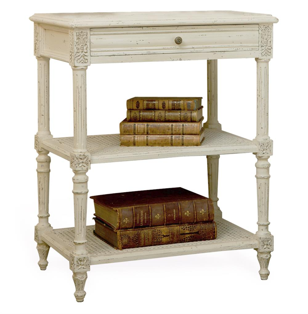 Napoleon French Country Old Creme Caned Nightstand Side Table   Kathy Kuo  Home ...