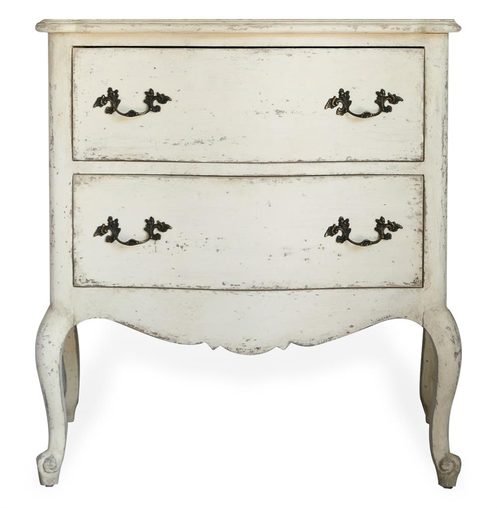 Clementine French Country Old Creme  Drawer Nightstand End Table - French country nightstand