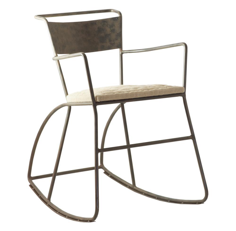klass industrial modern raw steel rocking arm chair kathy kuo home. Black Bedroom Furniture Sets. Home Design Ideas