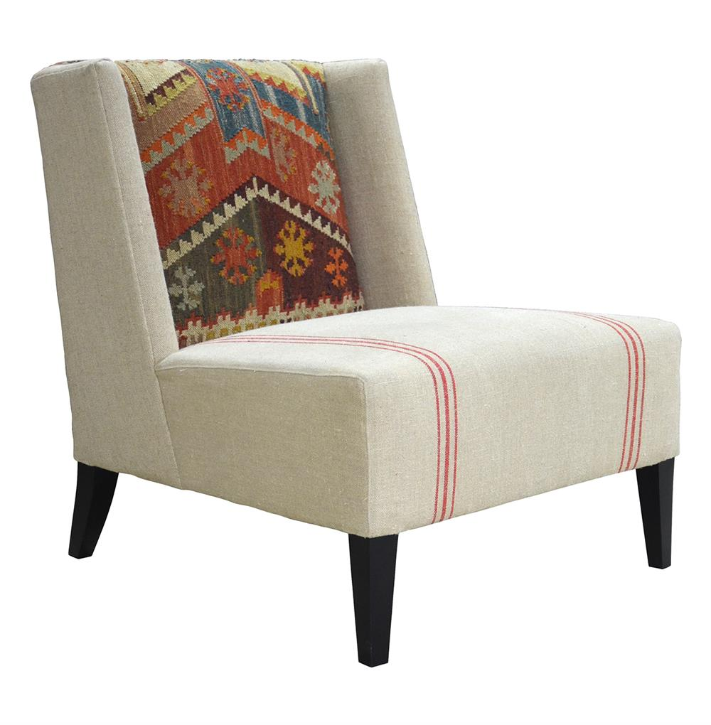 Chenla Modern Rustic Kilim Red Stripe Cream Accent Chair Kathy Kuo Home
