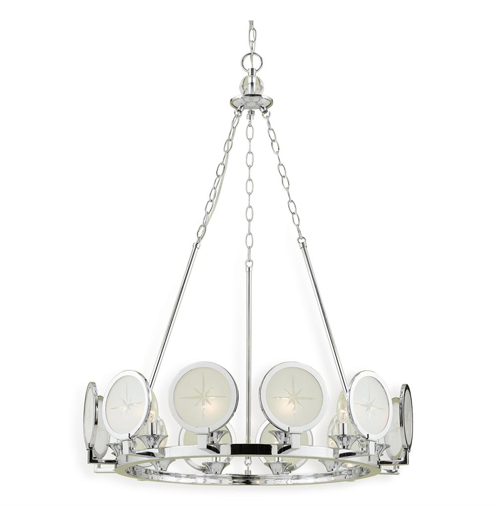Cecil Nautical Compass Rose Modern Round Chrome Chandelier