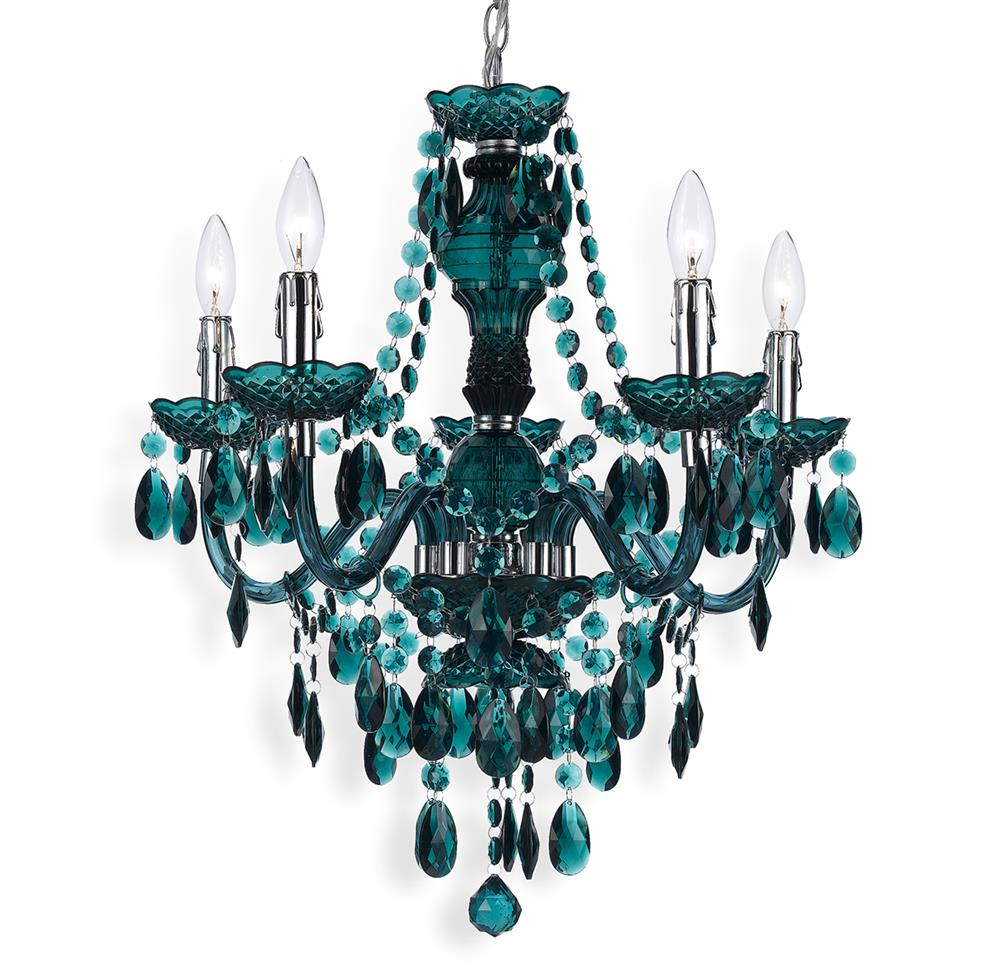 Blue green global bazaar bohemian 5 light beaded swag chandelier kathy kuo home - Can light chandelier ...