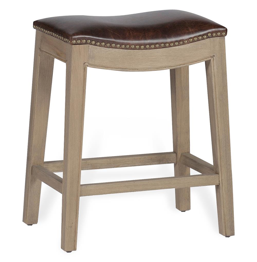 Pair Dalton French Country Leather Oak Curved Counter Stool