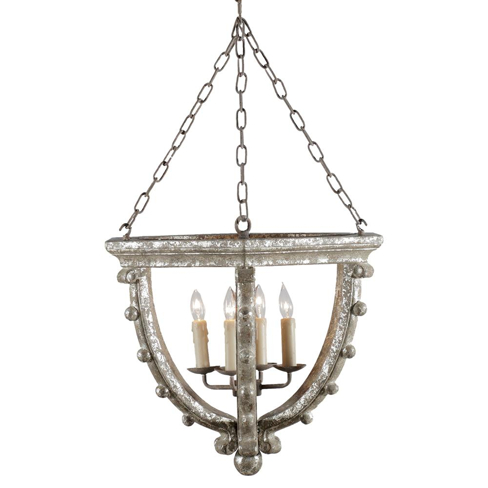 French Country Foyer Lighting : Branson french country antique silver leaf light open