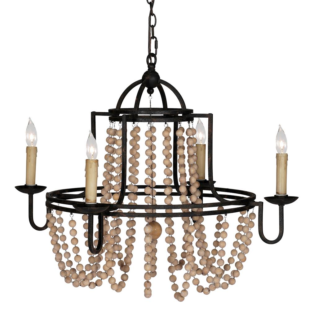 Sabrina French Country Wood Beaded Swag Black Iron