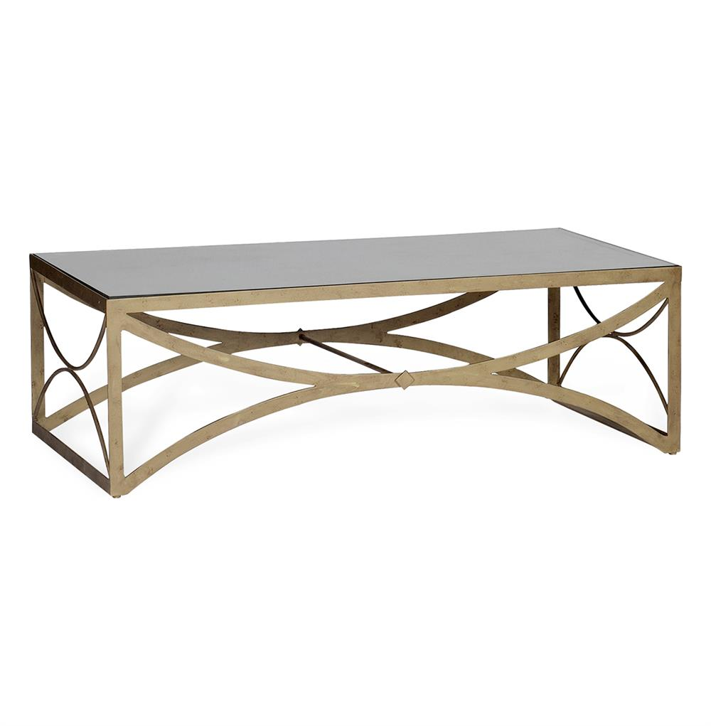 Bernard Hollywood Regency Antique Brass Leaf Mirrored Coffee Table