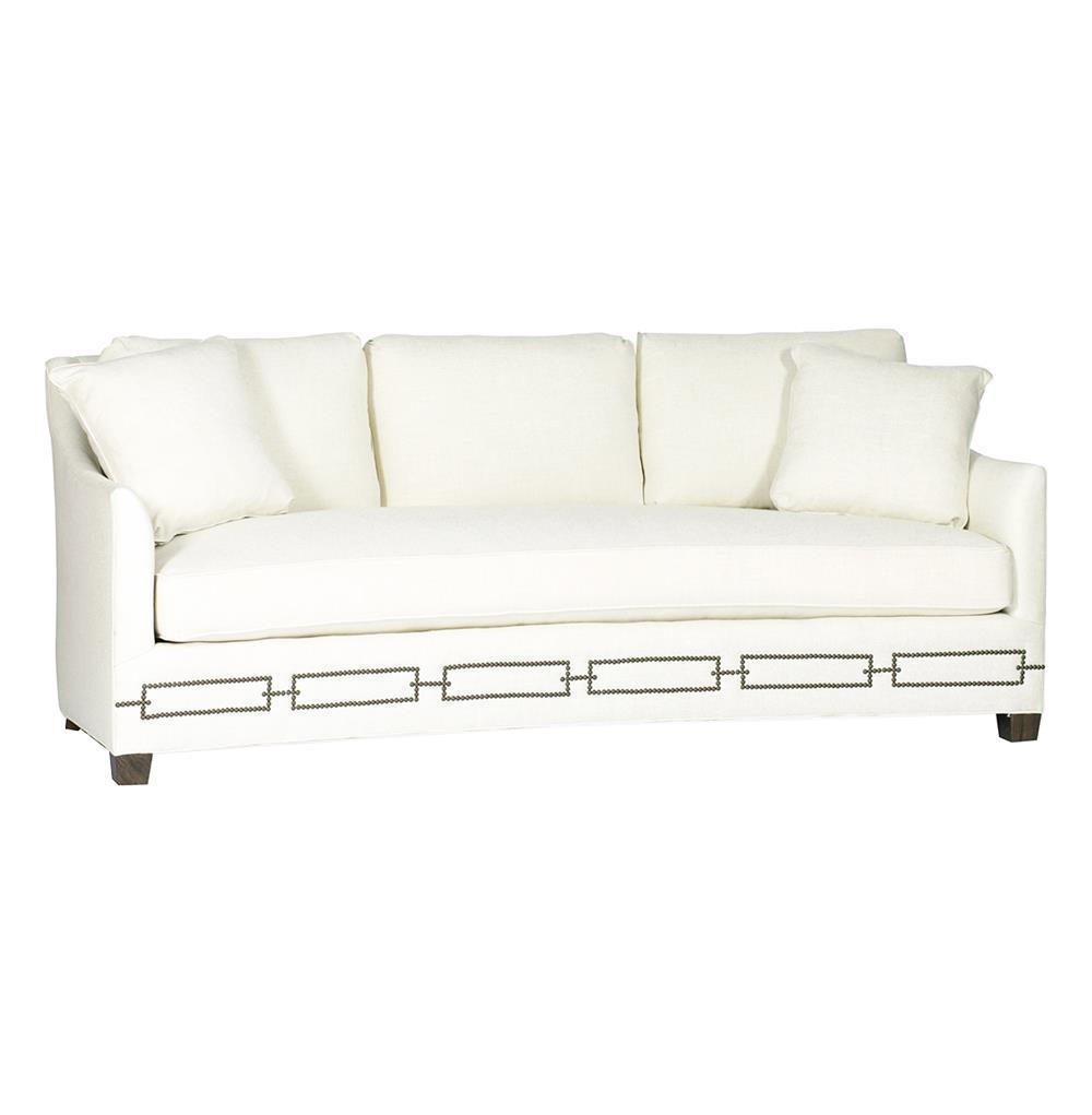 Baldwin Hollywood Regency Ivory Linen Sofa   Rectangle Nailhead | Kathy Kuo  Home ...