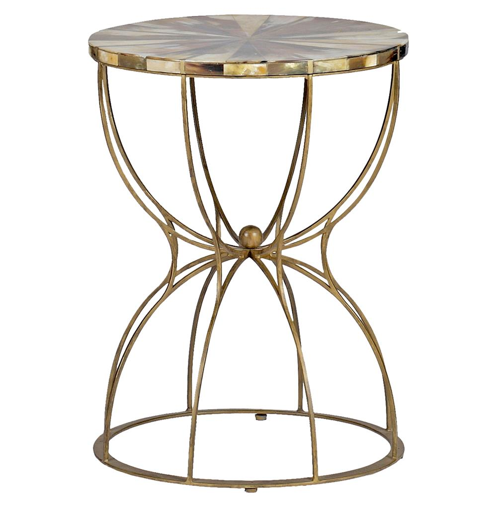 Gabrielle Hollywood Regency Hourglass Brass Horn Side End Table | Kathy Kuo  Home