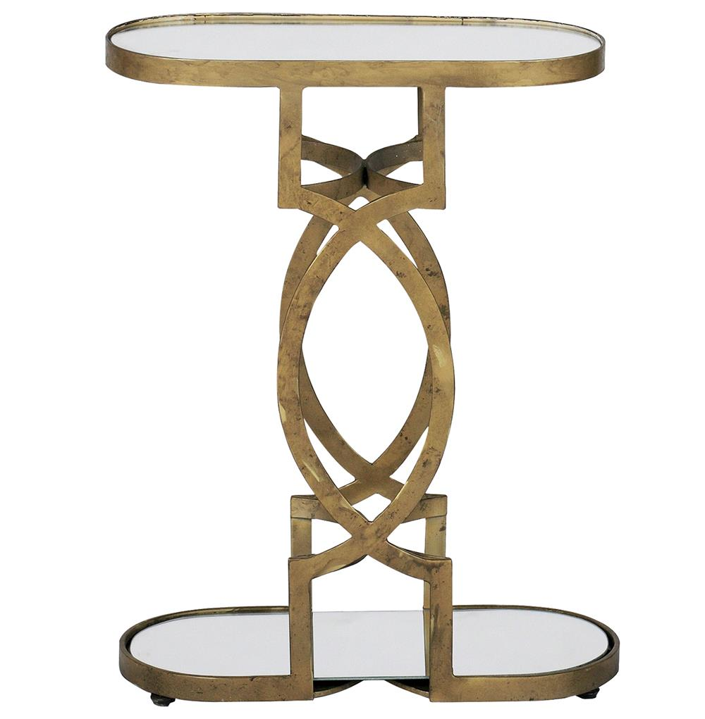 natasha art deco antique brass geometric side end table kathy kuo home. Black Bedroom Furniture Sets. Home Design Ideas