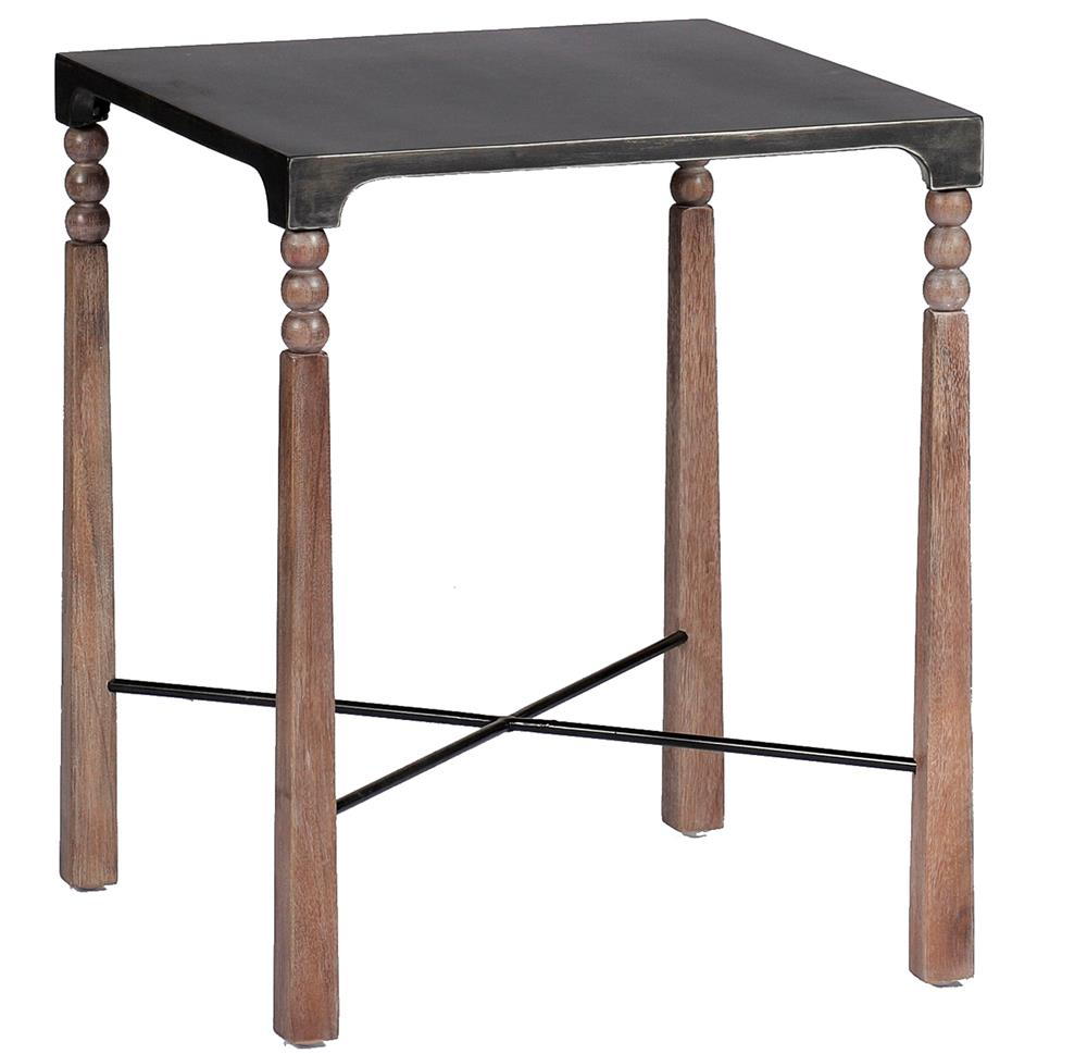 Andrew ceruse oak black metal bobbin side end table kathy kuo home