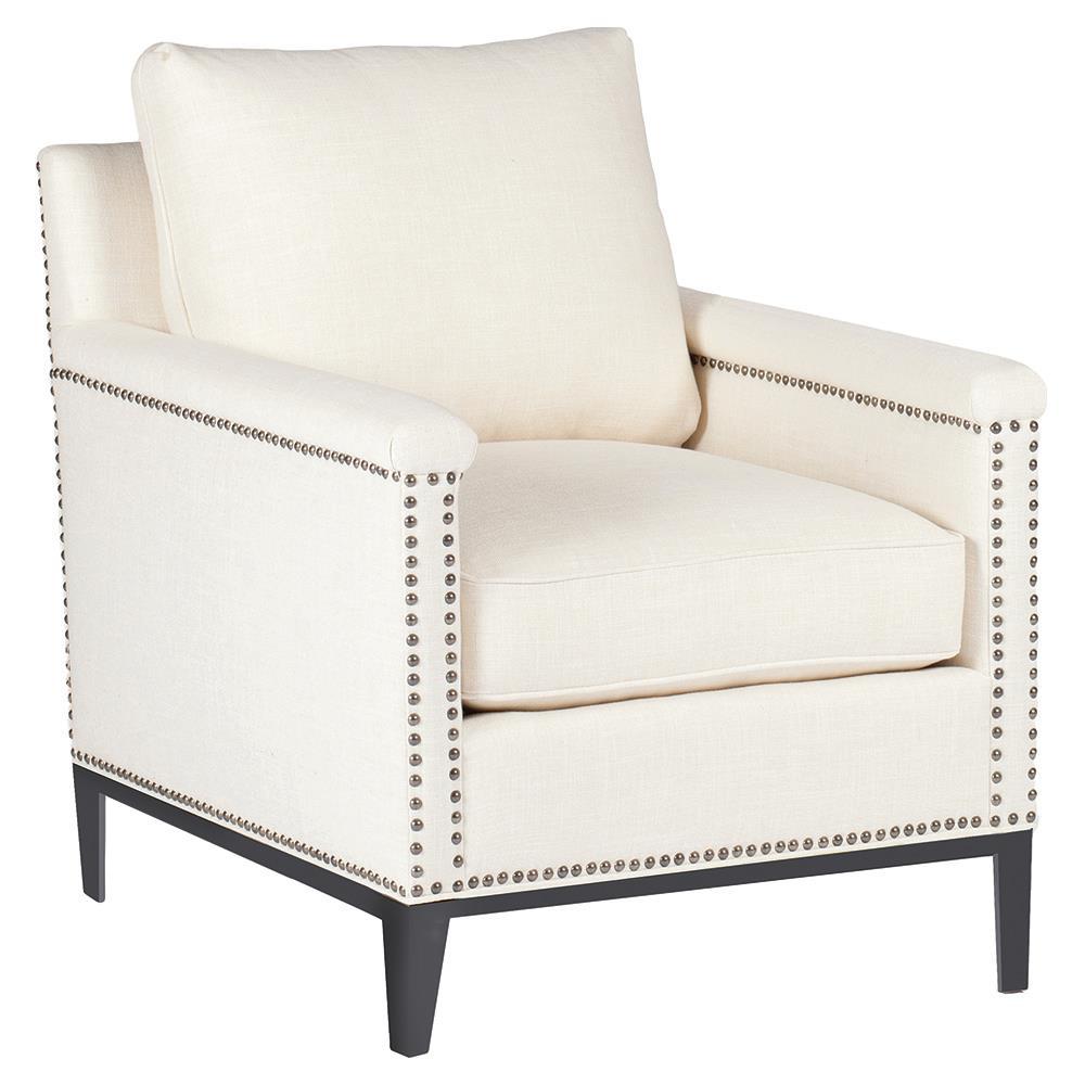 Weston Modern Classic Regency Nailhead Ivory Linen Arm Chair