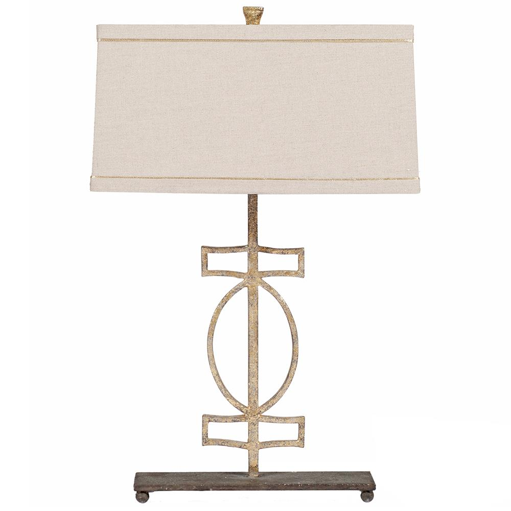 Annette Antique Gold Geometric Iron Table Lamp Kathy Kuo