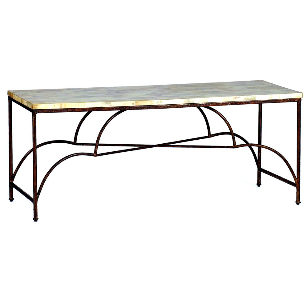 Woodward elegant rustic iron horn inlay coffee table kathy kuo home Rustic iron coffee table