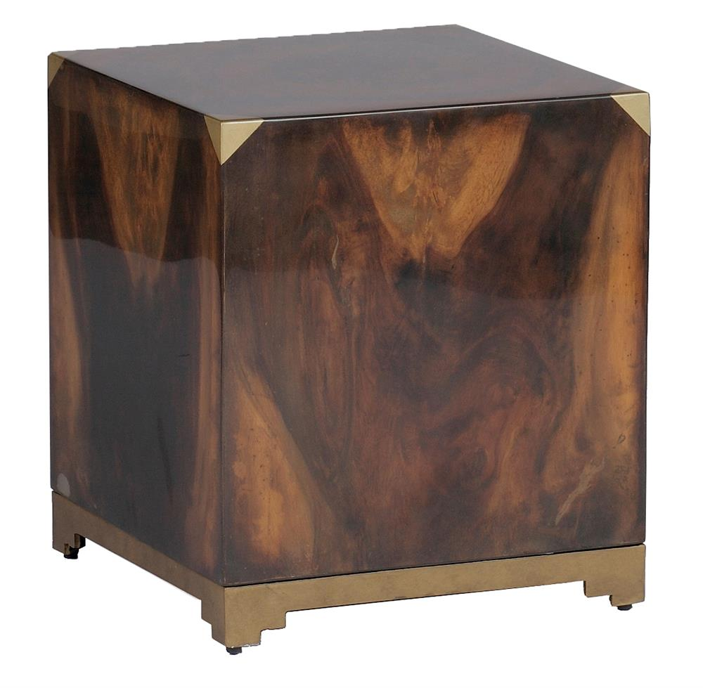 Addison Solid Polished Wood Art Deco Brass Cube Ottoman