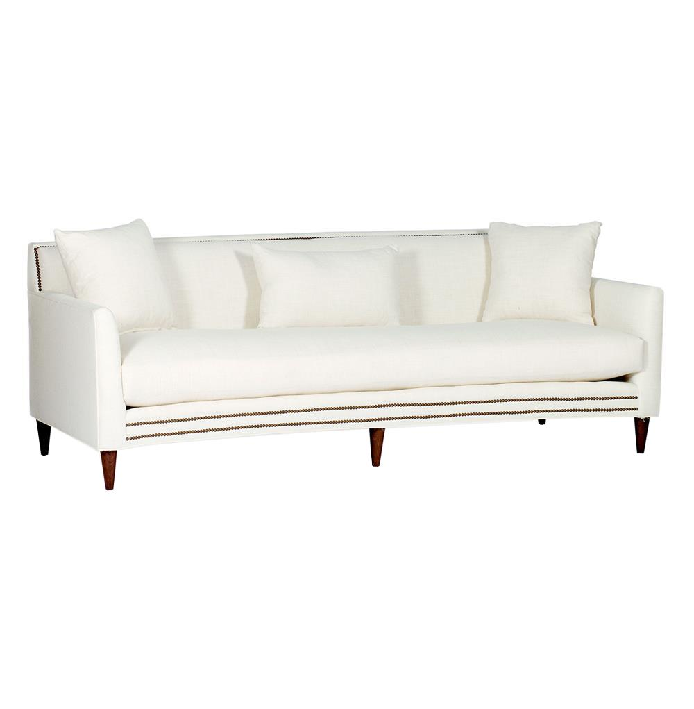 Lucy Mid Century Modern Nailhead Taper Leg Sofa Kathy