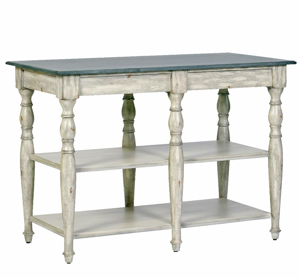 French Country Kitchen Island: Wright French Country Antique Distressed Cream Marble