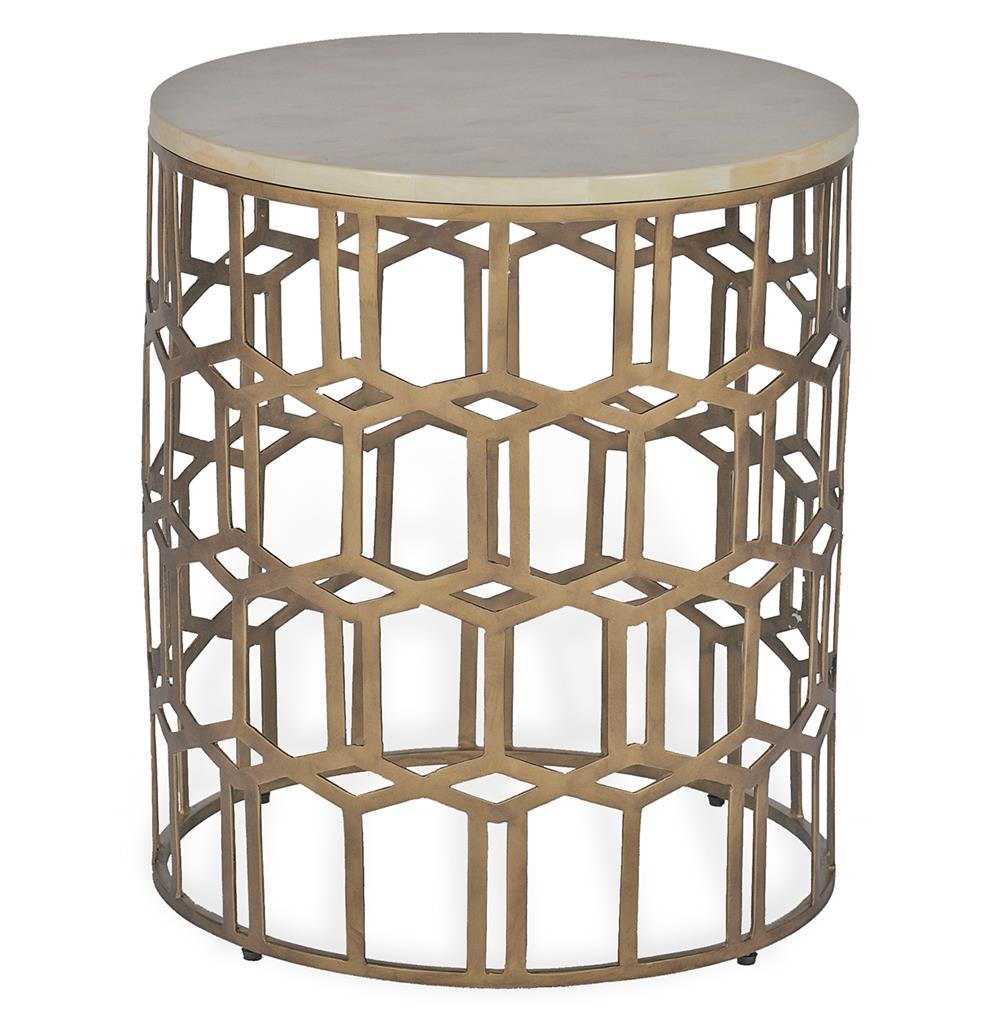Carmen hollywood regency deco round horn end side table for Round side table