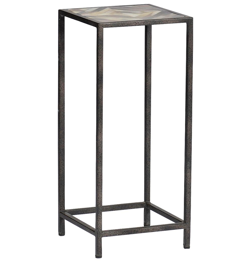 Arthur Rustic Horn Inlay Tall Side End Table Kathy Kuo Home